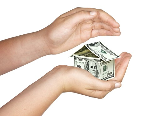 Money house in hand Stock Photo - 8166047