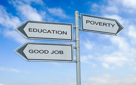 Road sign to eduacation , good job, and poverty Stock Photo - 8403475