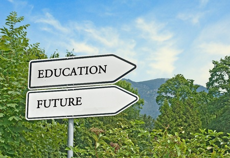Road sign to education and future photo