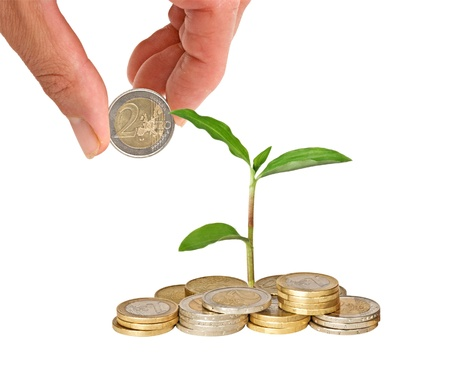 ecomomical: Plant growing from coins