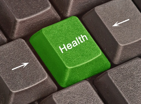 Keyboard with key for health Stock Photo - 8875778