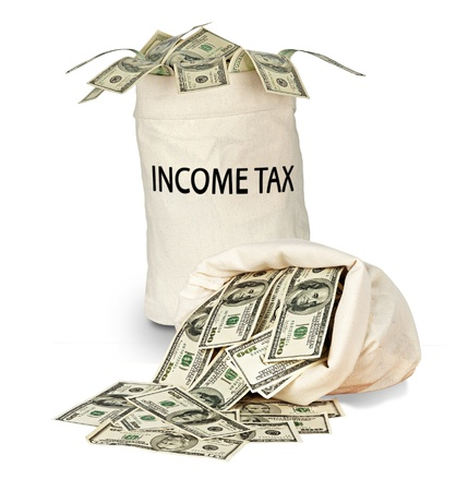 income tax: Bag with income tax Stock Photo