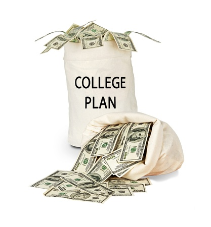 college: Bag with money for college