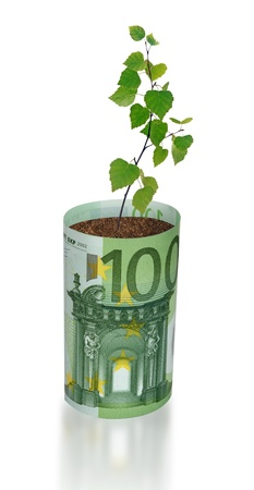 ecosavy: sapling growing from euro bill