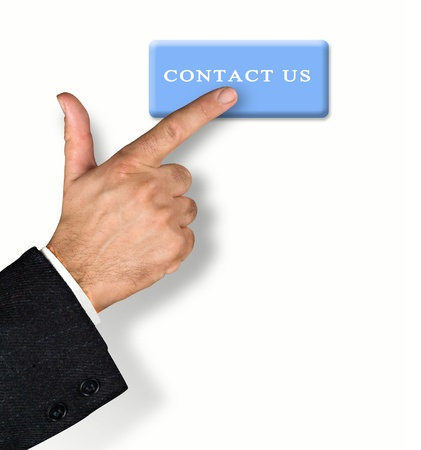 Man pressing contact us button photo