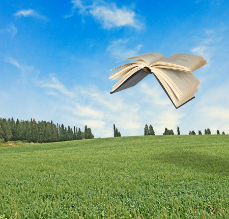 Flying book photo
