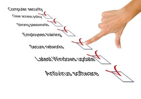 Liste de contrôle pour la sécurité informatique Banque d'images