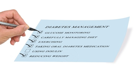 disease control: checklist for diabetes management Stock Photo
