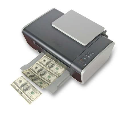 vals geld: Printer afdrukken nep dollarbiljetten