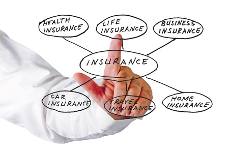 insurance agent: Presentation of insurance structure Stock Photo