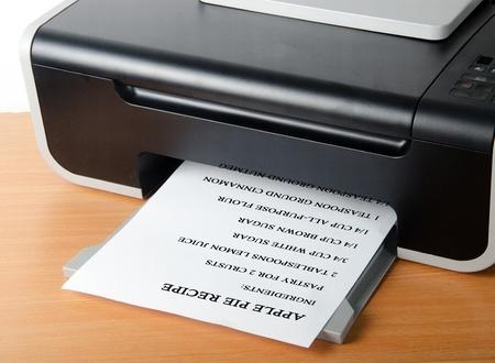 scaner: Printing recipe of apple pie Stock Photo