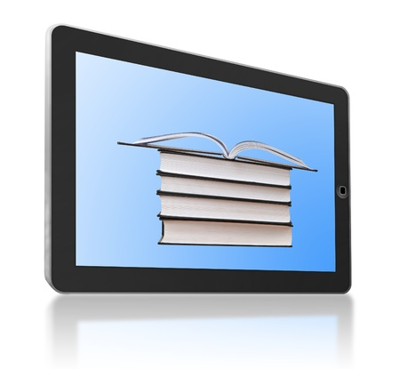 ereader: Generic tablet PC with books as a symbol of digital library and e-reader