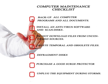 Checklist for computer maintenance photo
