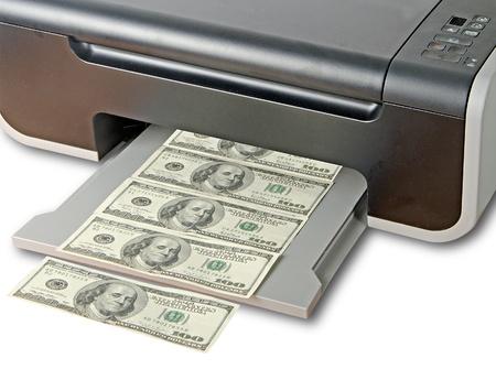 vals geld: Printer printen valse dollarbiljetten