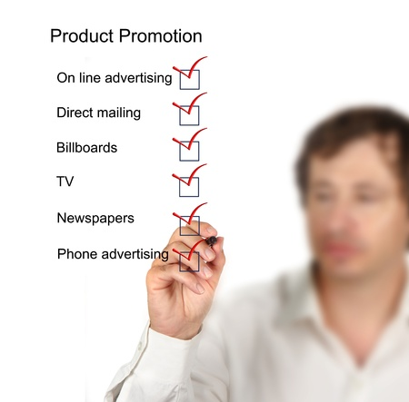 email lists: Product promotion checklist Stock Photo