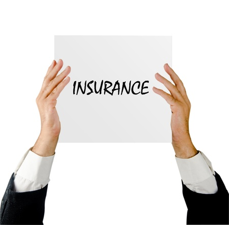 Man with insurance advertisment photo