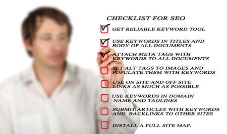 optimisation: Presentation of SEO checklist Stock Photo