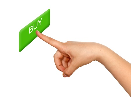 ebuy: Girl pressing buy button Stock Photo