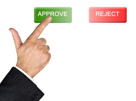 approval button: Manager pressing on approval button