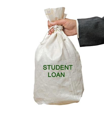 loans: Bag with student loan