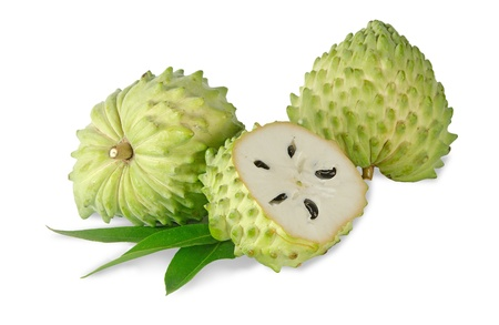 Soursop section isolated on white background