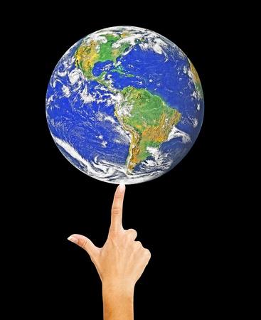 Planet Earth on finger