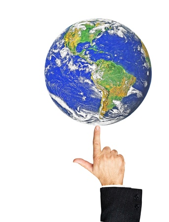 politican: Planet earth on finger