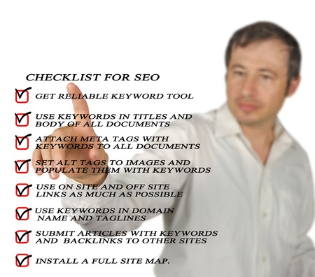 Presentation of SEO checklist Stock Photo - 12507207