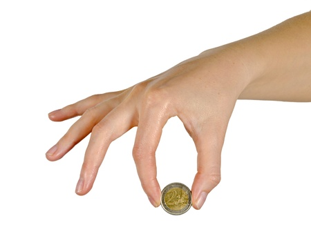 hand with coin photo