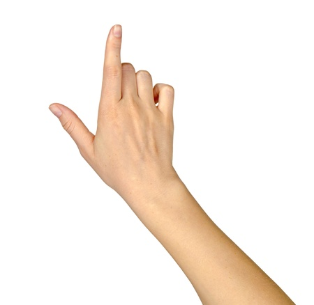 female hand: hand pointing up Stock Photo