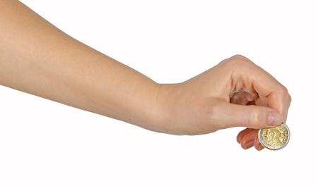cash in hand: la mano con la misma moneda