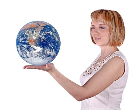 Planet earth on palms photo