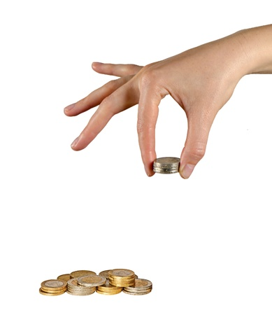 Hands with coins photo