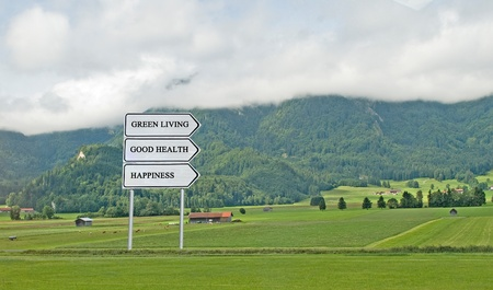 Road sign to green living, good health and happiness Stock Photo - 12992322