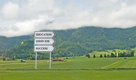 Road sign to success, education, good job Stock Photo - 13054235