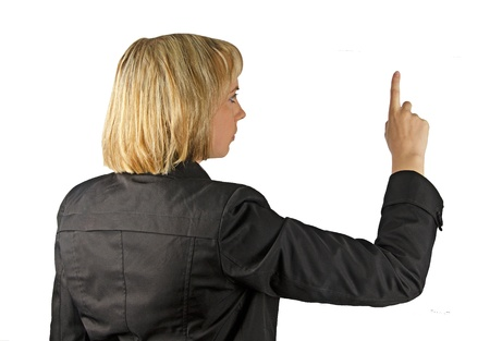 Woman pressing on virtual screen  photo