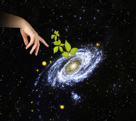 cosmology: Plant at center of galaxy.Elements of this image furnished by NASA Stock Photo
