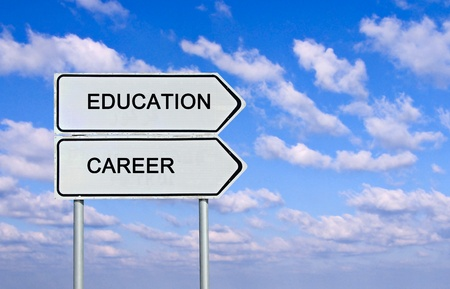 Road sign to  education and career Stock Photo - 13168571