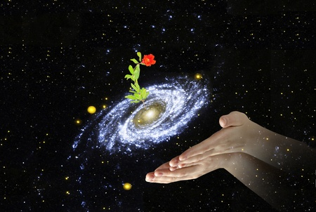 flower at center of galaxy Elements of this image furnished by NASA Stock Photo - 13168573
