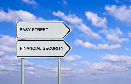 Road sign to easy street and financial security photo