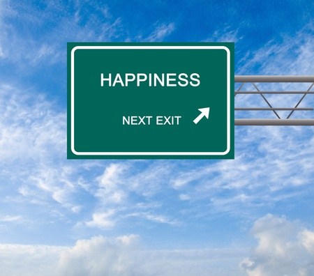 Road sign to happiness photo
