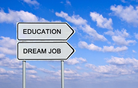 Road sign to  education and dream job photo