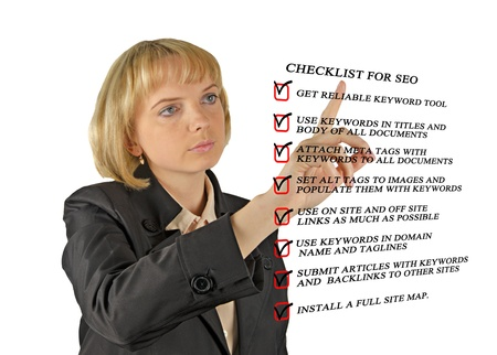 Presentation of SEO checklist Stock Photo - 13871874