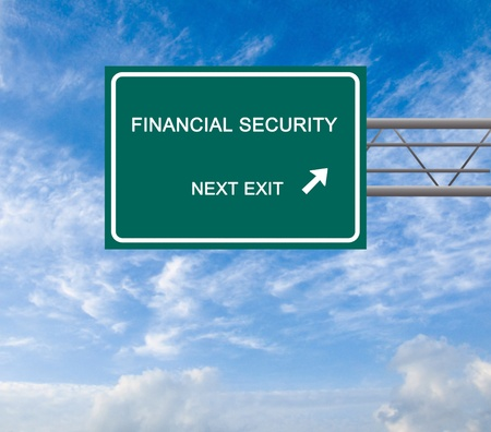Road sign to financial security photo