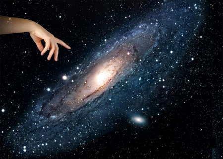 Pointing to galaxy. photo