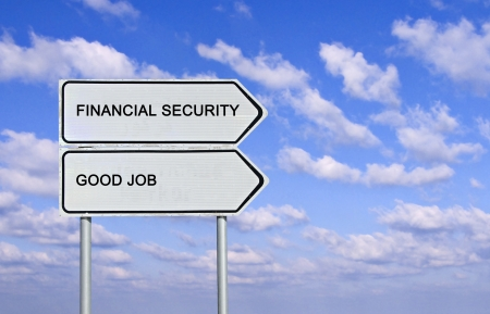 Road sign to good job and financial security photo