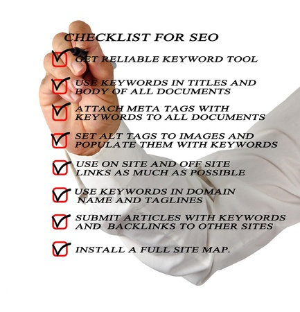 Presentation of SEO checklist Stock Photo - 14065830