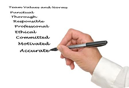 Escribir los valores del equipo y las normas