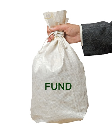 white fund: Bag with fund Stock Photo