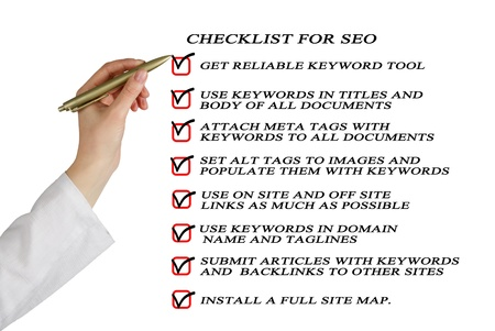 Presentation of SEO checklist Stock Photo - 14100988